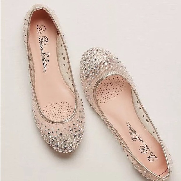 46717734d David s Bridal Shoes - David s Bridal Ballet Flats w  Scattered Crystals
